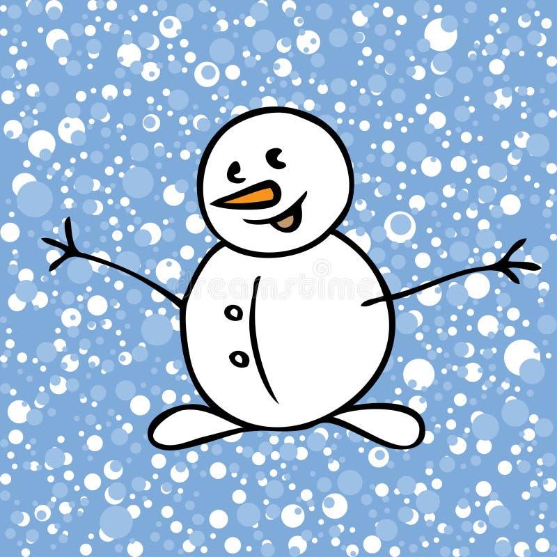 Modelo de la nieve con el muñeco de nieve en fondo azul stock de ilustración