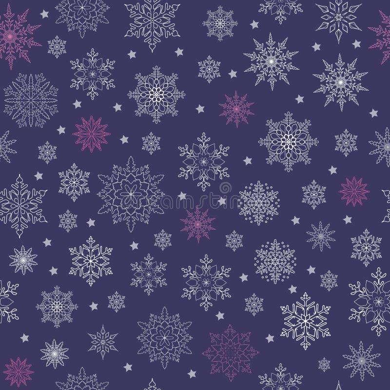 Modelo de la nieve Ejemplo del vector con caída inconsútil del invierno de los copos de nieve ilustración del vector