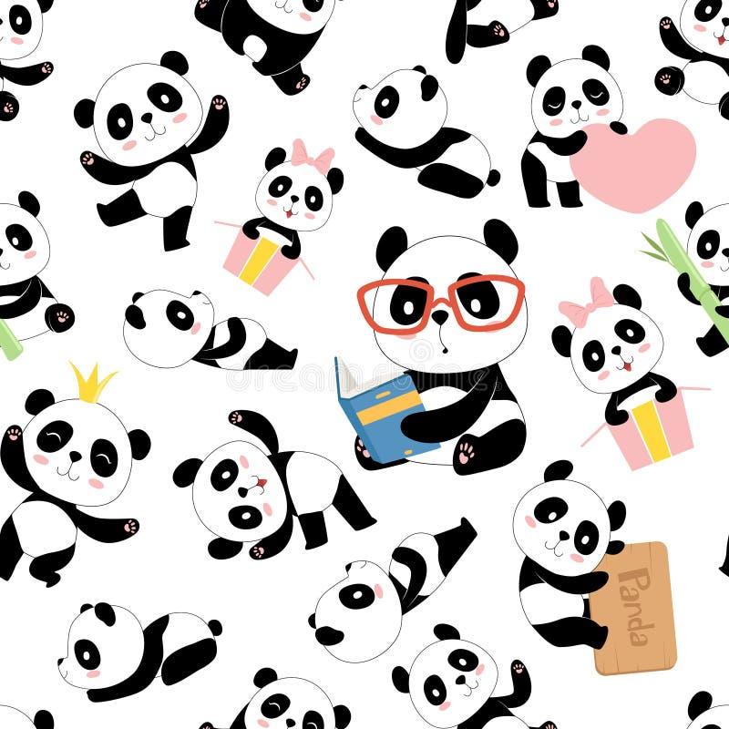 Modelo de la panda El bebé lindo asiático tradicional de China lleva ejemplos inconsútiles del vector con los caracteres de los a libre illustration