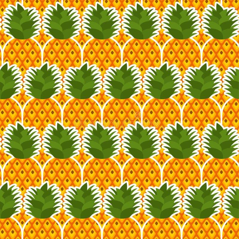 Modelo de la pi?a incons?til Fondo de las pi?as Textura de las frutas Ornamento del vectordel estilode la historieta ilustración del vector