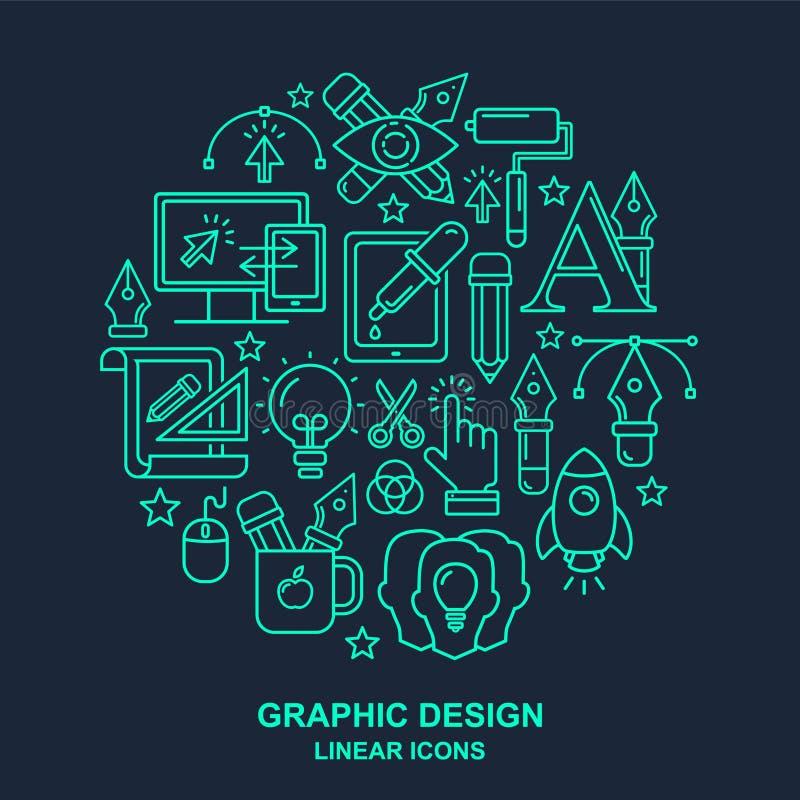 Modelo de la profesión del diseñador gráfico con los iconos lineares de la turquesa ilustración del vector