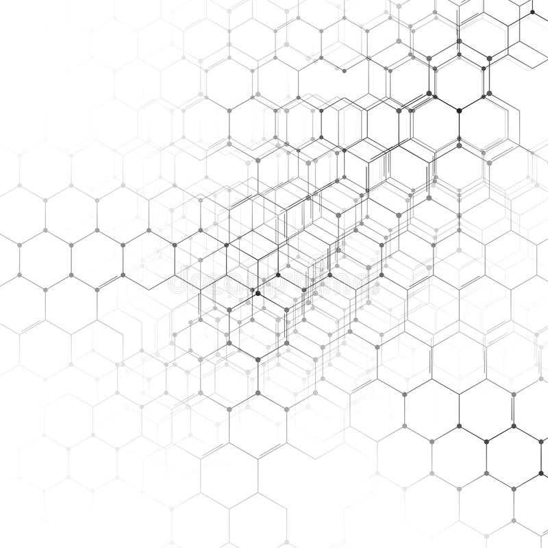 Modelo de la química 3D, estructura hexagonal de la molécula en el blanco, investigación médica científica ilustración del vector