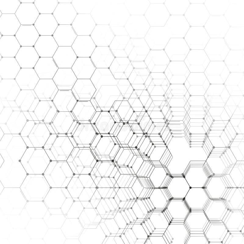 Modelo de la química 3D, estructura hexagonal de la molécula en el blanco, investigación médica científica Medicina, ciencia y ilustración del vector
