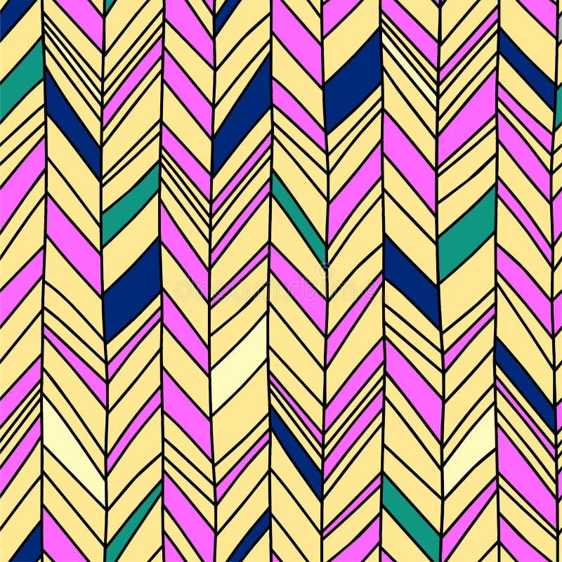 Modelo de la raspa de arenque con vector minimalista abstracto inconsútil de la decoración del diseño geométrico del fondo colori ilustración del vector