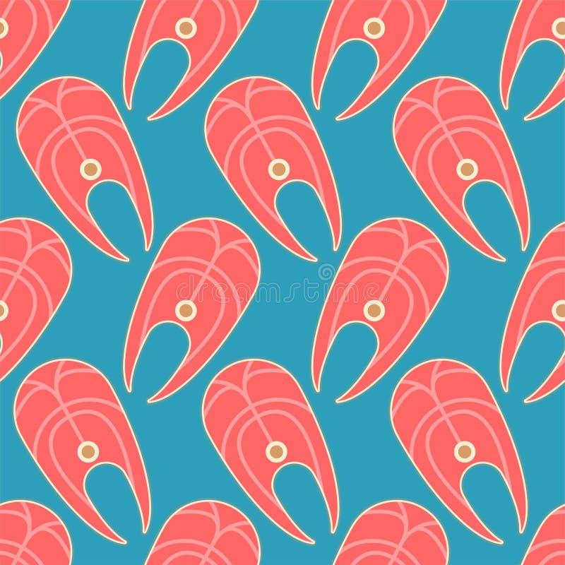 Modelo de la rebanada de pescados inconsútil Fondo rojo de filete de pescados Ornamento del vector ilustración del vector