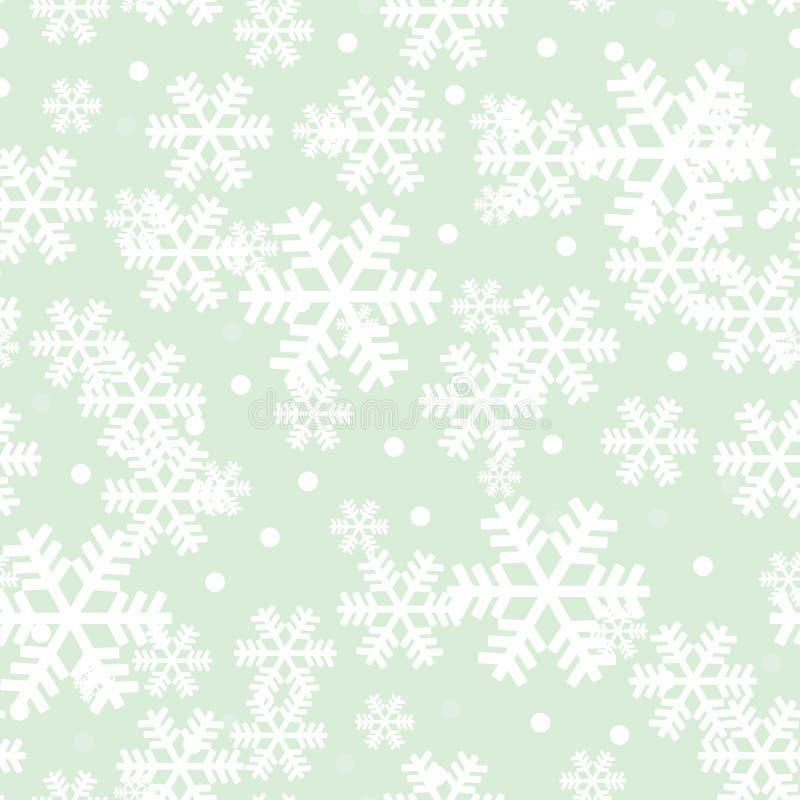 Modelo de la repetición de los copos de nieve de la Navidad del verde menta libre illustration