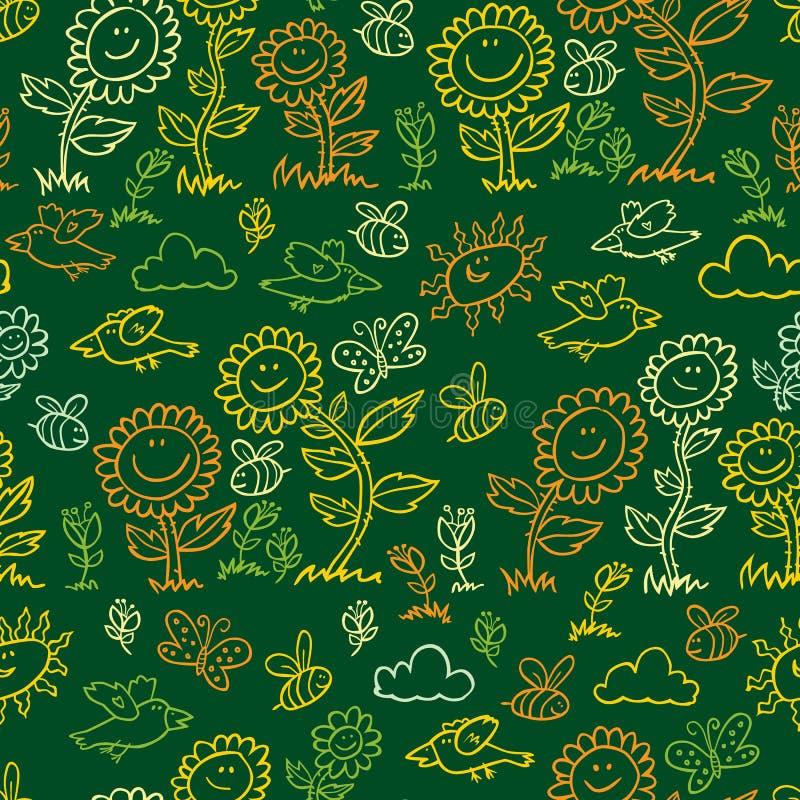 Modelo de la repetición de los girasoles, de los pájaros y de las abejas del estilo de la pizarra del verde del vector Convenient libre illustration