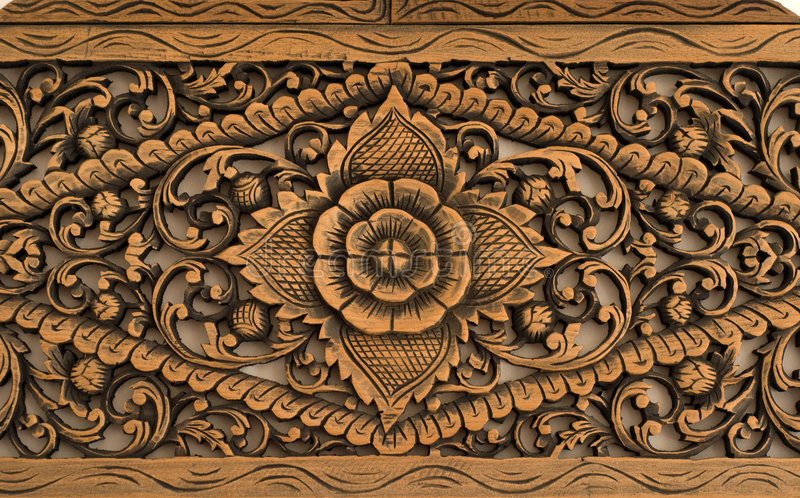 Modelo de la rosa tallado en la madera fotos de archivo libres de regalías
