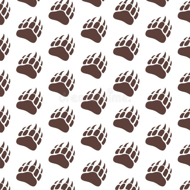 Modelo de la silueta del paso de la pata de oso del vector para el fondo, icono, cartel, bandera Impresión animal salvaje de la p stock de ilustración