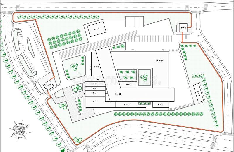 Modelo de la solución urbana para el edificio de la industria stock de ilustración