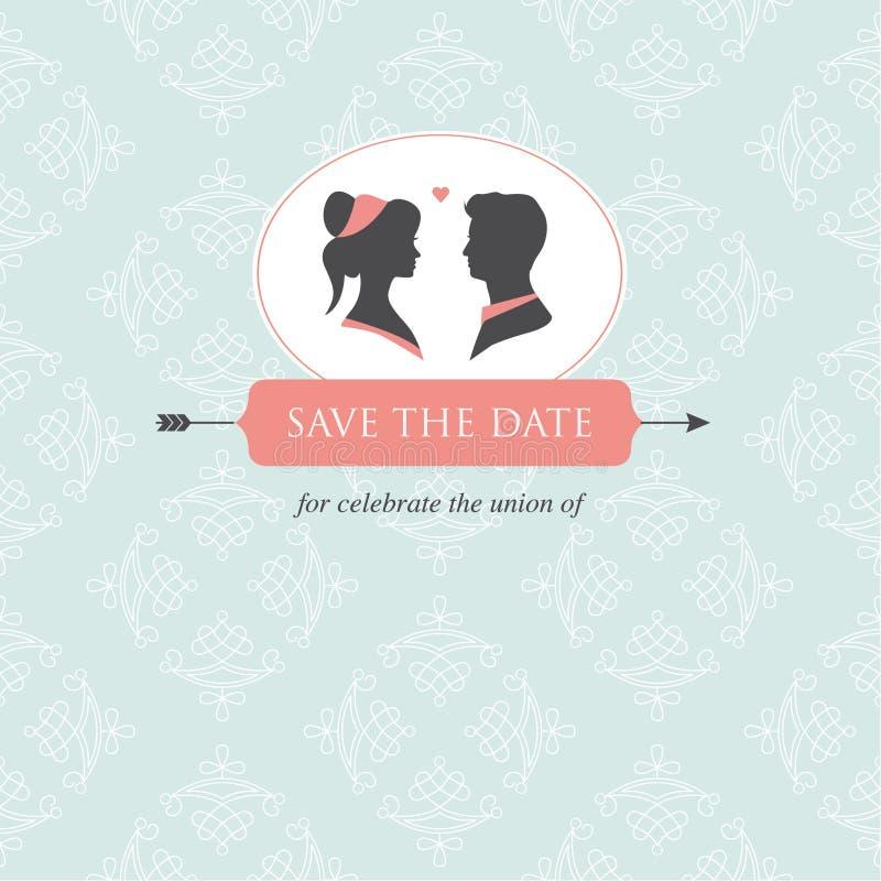 Modelo de la tarjeta de la invitación de la boda   ilustración del vector