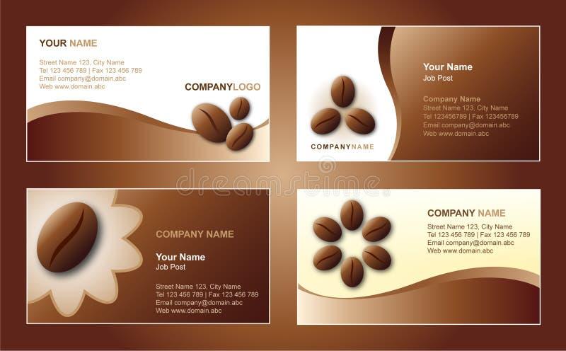 Modelo de la tarjeta de visita del café stock de ilustración