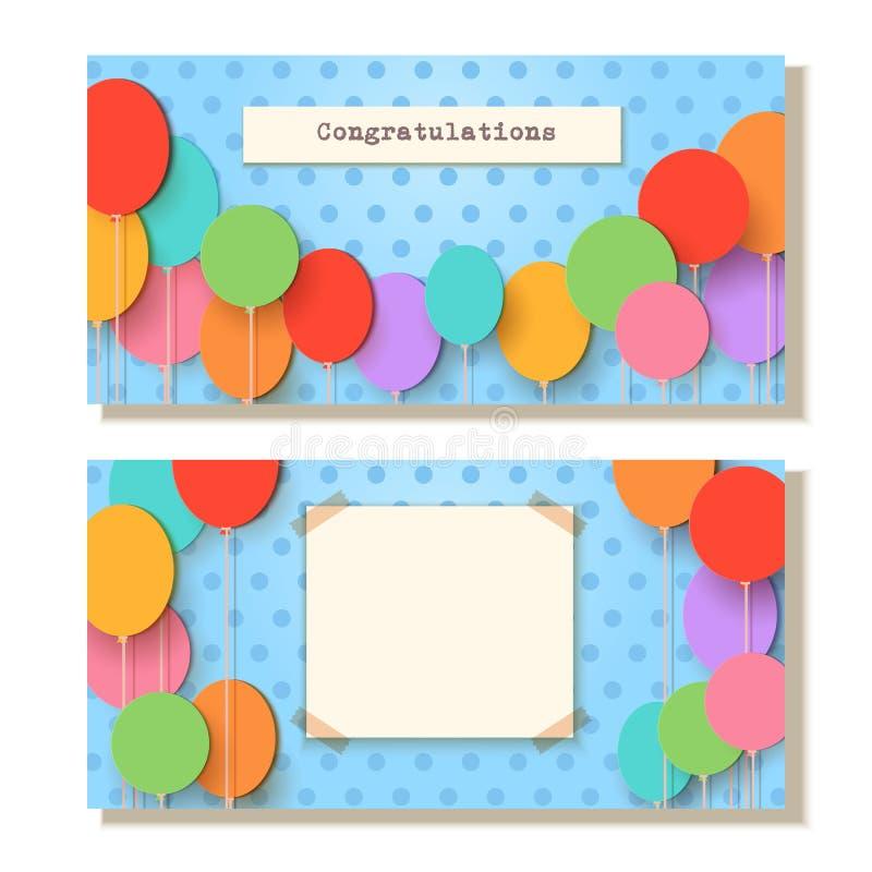 Modelo de la tarjeta de felicitación Globos del corte del papel del vuelo en fondo azul Ejemplo del applique del vector Festivo p stock de ilustración