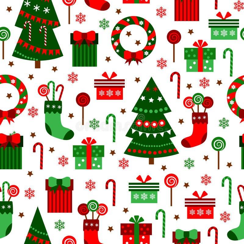 Modelo de la teja del verde del Año Nuevo Diseño plano de la Feliz Navidad libre illustration