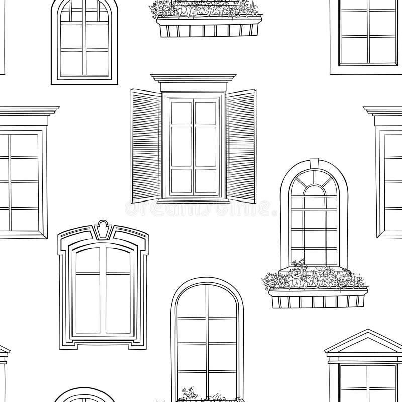 Modelo de la ventana Diverso estilo arquitectónico del garabato de las ventanas ilustración del vector