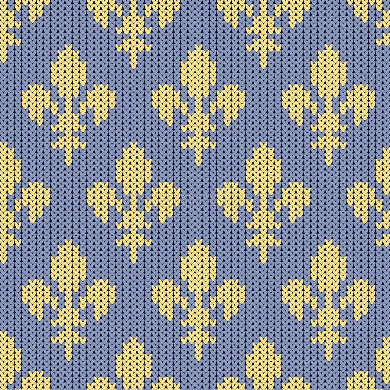Modelo de lana hecho punto con el lirio de la casa francesa de Borbón en un fondo del azul del vintage ilustración del vector