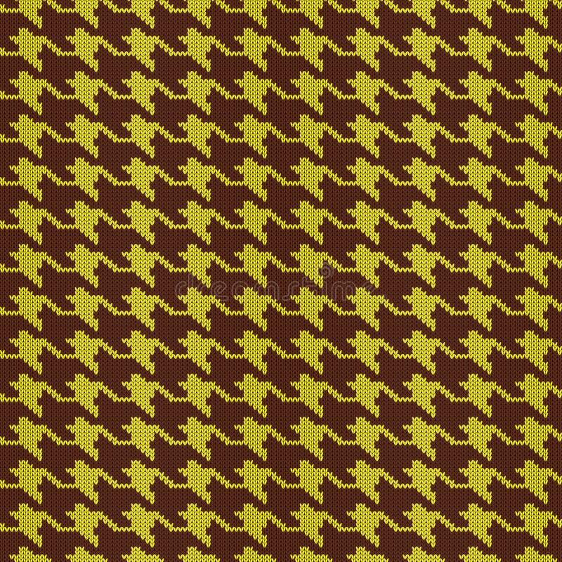 Modelo de lana hecho punto inconsútil Houndstooth Control amarillo del diente de perros ilustración del vector