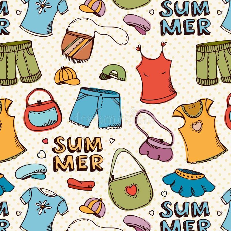 Modelo de las compras de la ropa del verano stock de ilustración