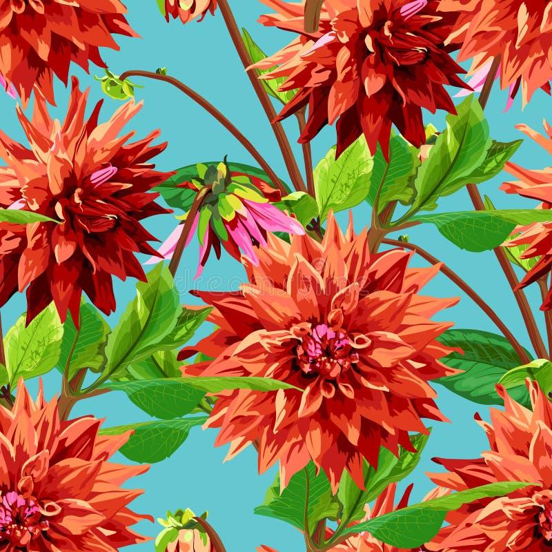 Modelo de las flores de Georgina con las hojas libre illustration