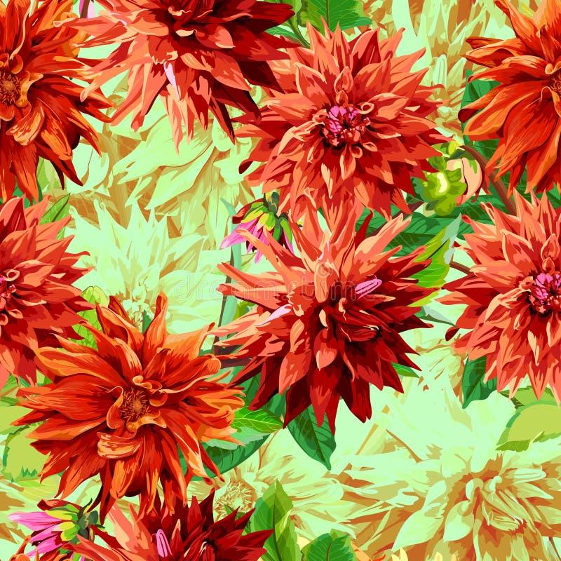 Modelo de las flores de Georgina con las hojas 2 ilustración del vector