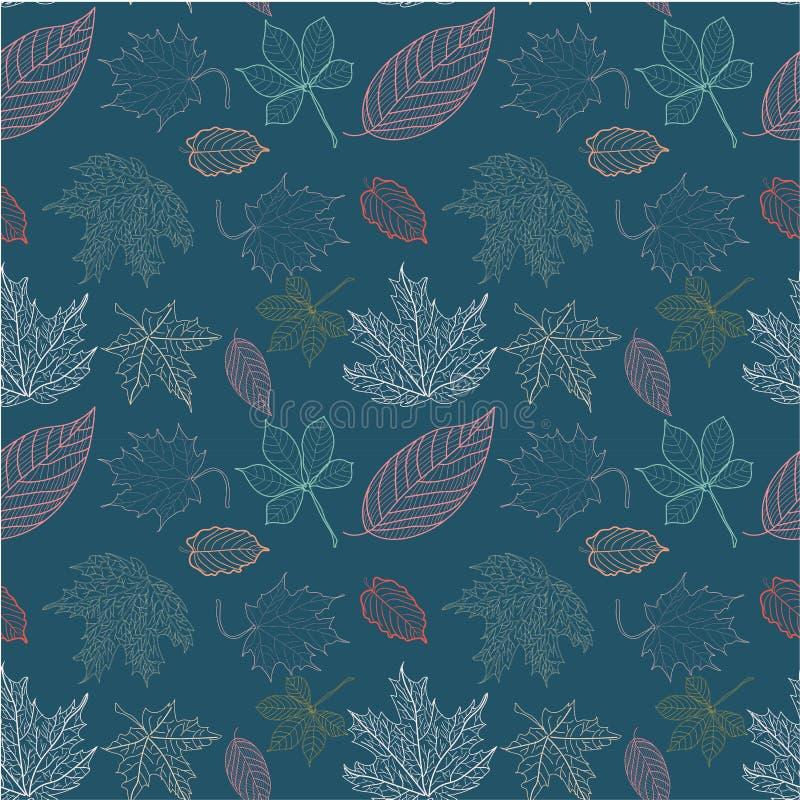 Modelo de las hojas de otoño del esquema en fondo azul marino stock de ilustración