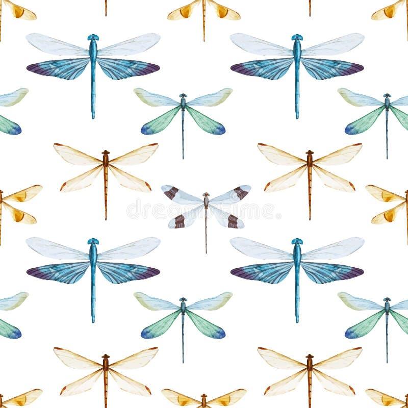 Modelo de las libélulas de la acuarela libre illustration