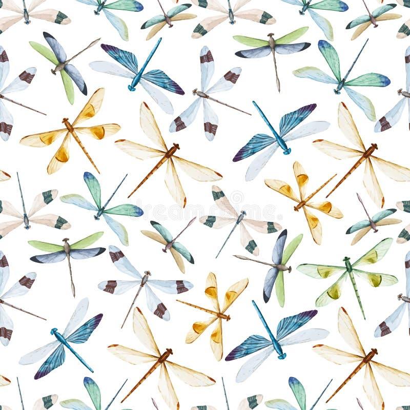 Modelo de las libélulas de la acuarela stock de ilustración