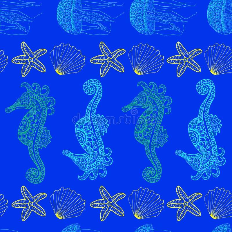 Modelo de las medusas y del seahorse subacuáticos de las estrellas de mar libre illustration