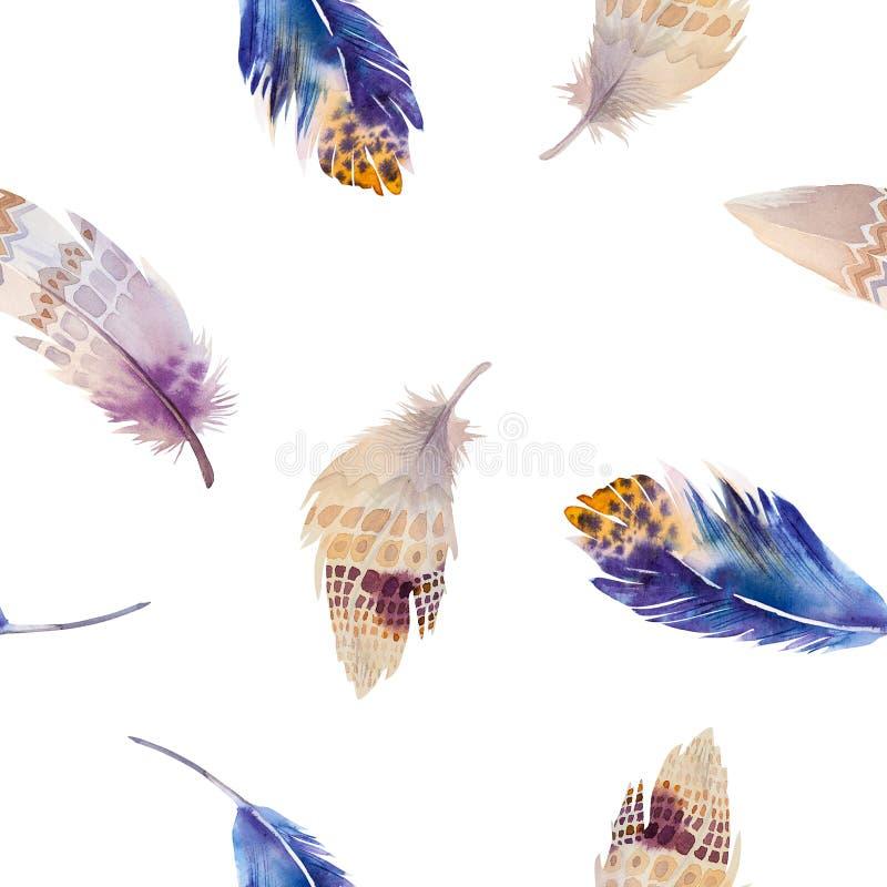 Modelo de las plumas de pájaros de la acuarela inconsútil ilustración del vector