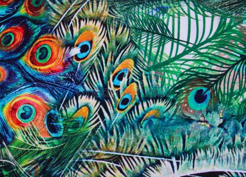 Modelo de las plumas del pavo real en fondo de la tela libre illustration