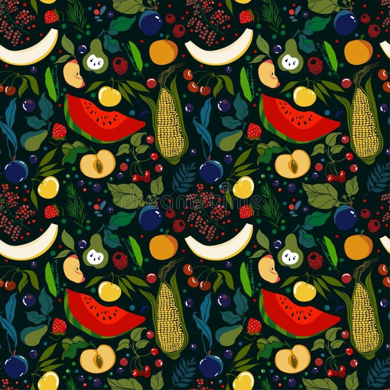 modelo de las porciones de frutas jugosas brillantes en un fondo oscuro stock de ilustración