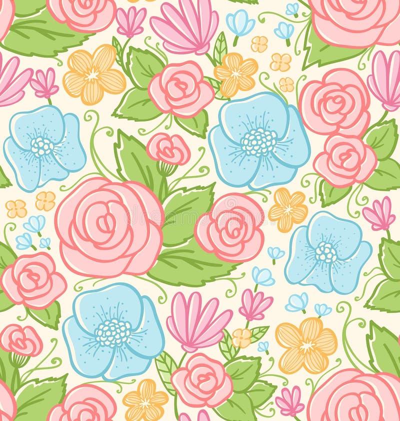 Modelo de las rosas y de las violetas stock de ilustración