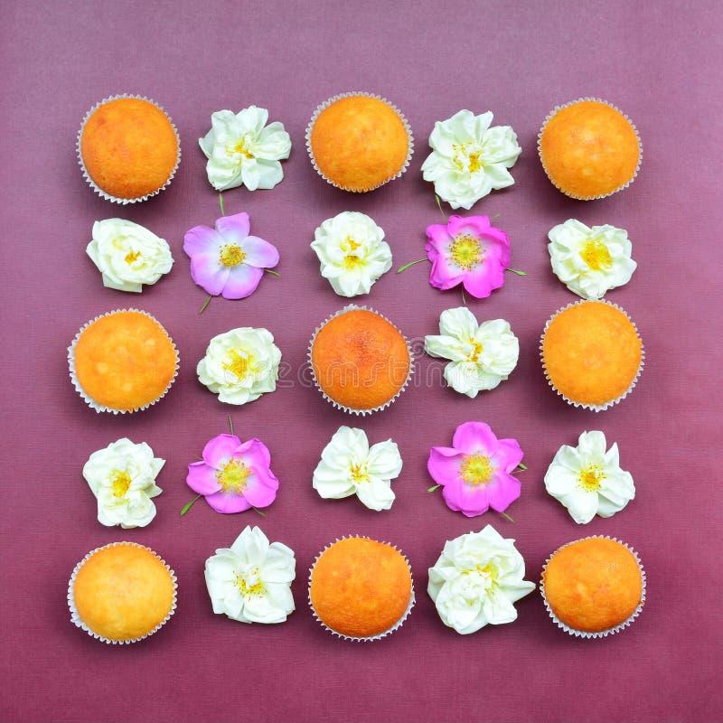 Modelo de las tortas y de las rosas imágenes de archivo libres de regalías