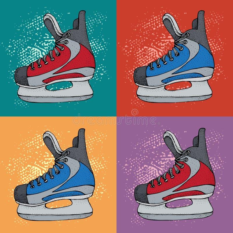 Modelo de las vacaciones de invierno con bosquejo de la historieta de los patines de hielo Patines rojos y azules del hockey sobr stock de ilustración