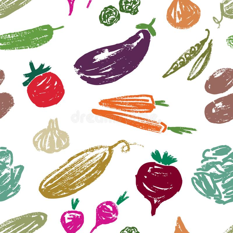 Modelo de las verduras exhaustas stock de ilustración