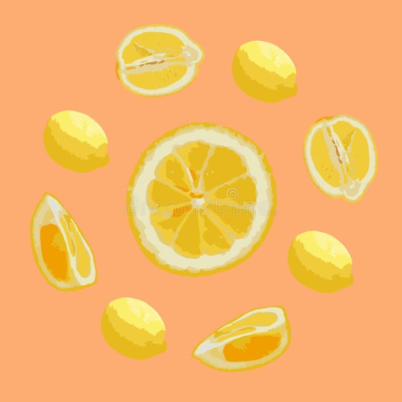 Modelo de limones en colores en colores pastel Fondo coralino, limones amarillos fotografía de archivo