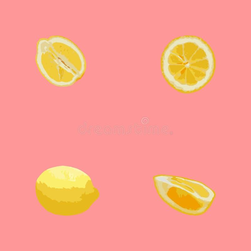 Modelo de limones en colores en colores pastel Fondo coralino, limones amarillos fotos de archivo