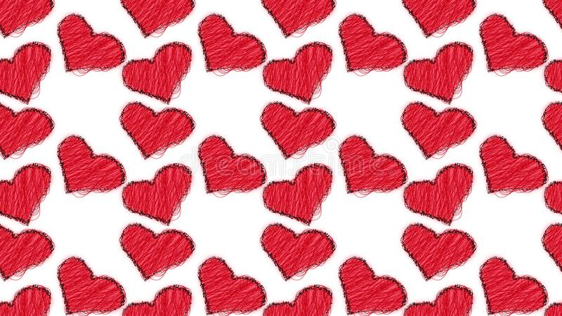 Modelo de lindo, hermoso, amando, extracto, rojo, hilos hechos punto de los corazones pintados con garabatos coloridos con un res stock de ilustración