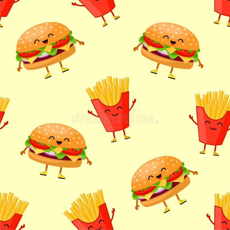 Modelo de los alimentos de preparación rápida Textura inconsútil del vector stock de ilustración