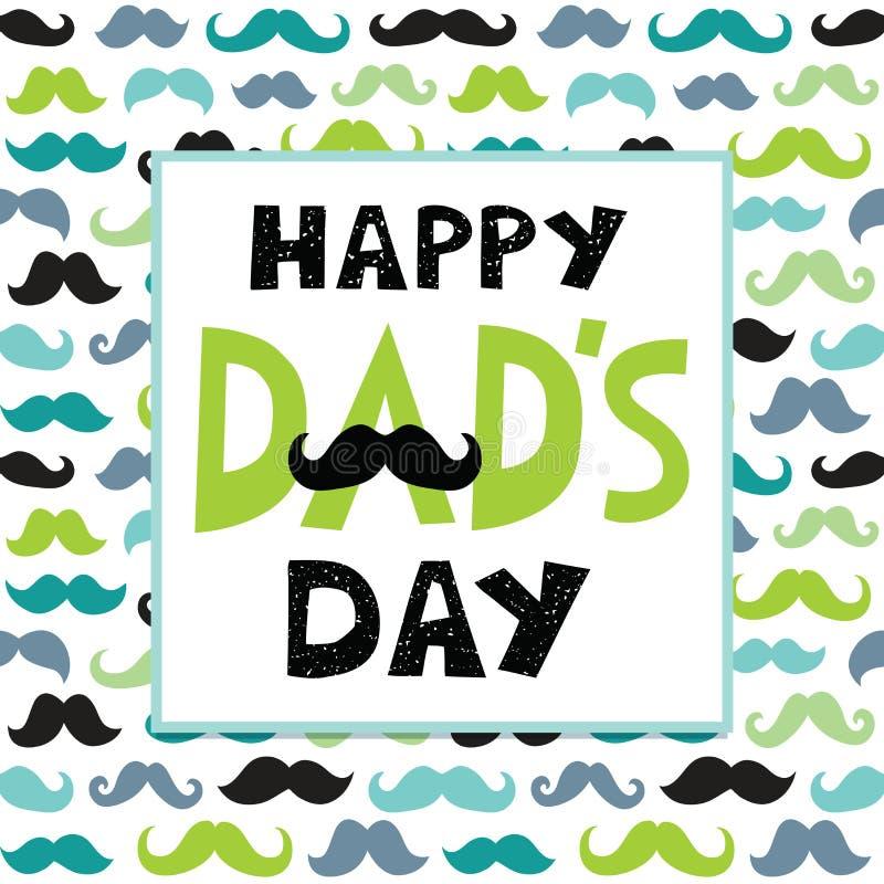 Modelo de los bigotes del marco de texto de la tarjeta del día de padres ilustración del vector