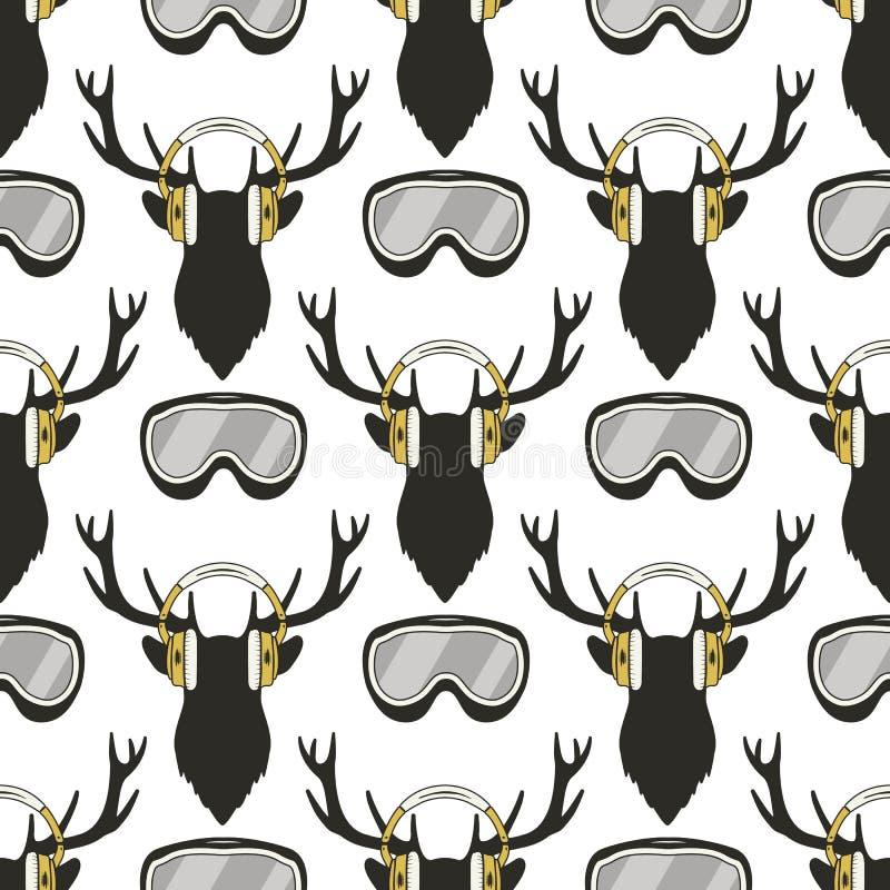 Modelo de los ciervos de la Navidad Reideer divertido en los auriculares y el esquí, gafas de la snowboard Fondo inconsútil del i stock de ilustración