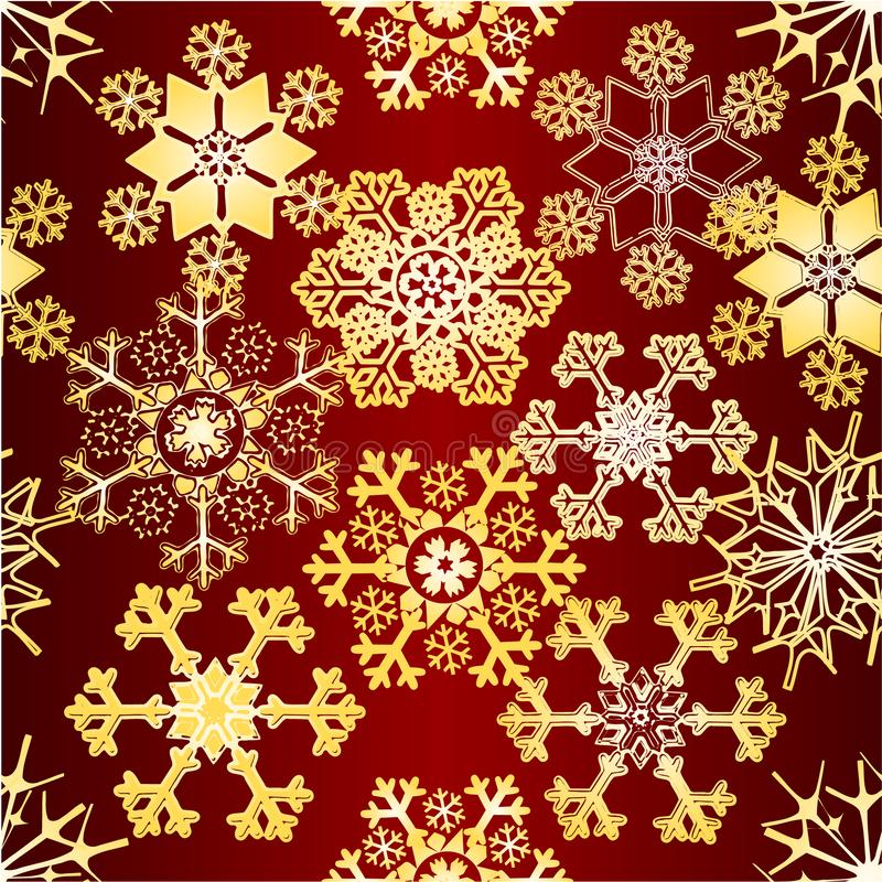 Modelo de los copos de nieve de la decoración de la Navidad inconsútil de la textura y del Año Nuevo el diverso del vintage rojo  libre illustration