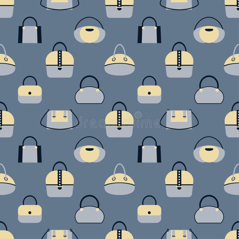 Modelo de los diversos bolsos de las mujeres de moda s en colores azules y beige stock de ilustración