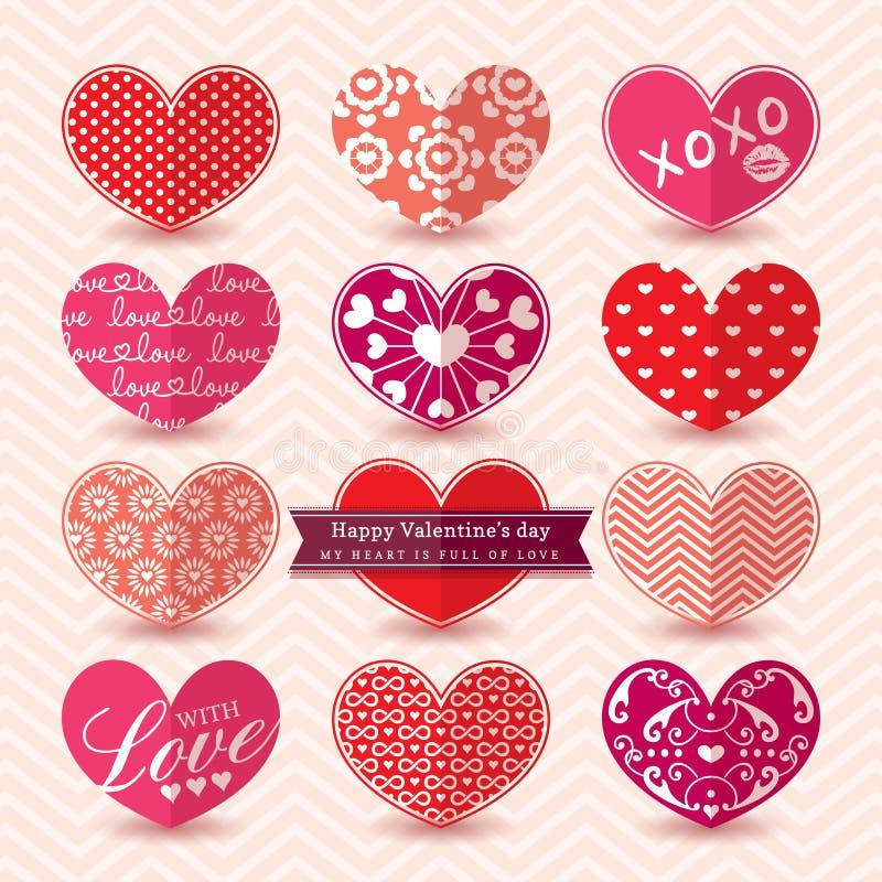 Modelo de los elementos del corazón del día de tarjeta del día de San Valentín stock de ilustración