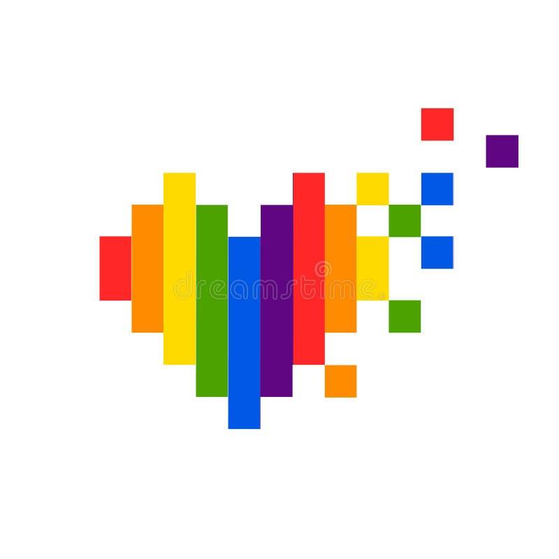 Modelo de los garabatos del extracto del vector Orgullo exhausto del corazón de la mano, amor, paz con el arco iris Lema del desf libre illustration
