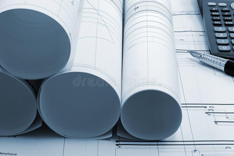 Modelo de los gráficos del proyecto de construcción fotografía de archivo