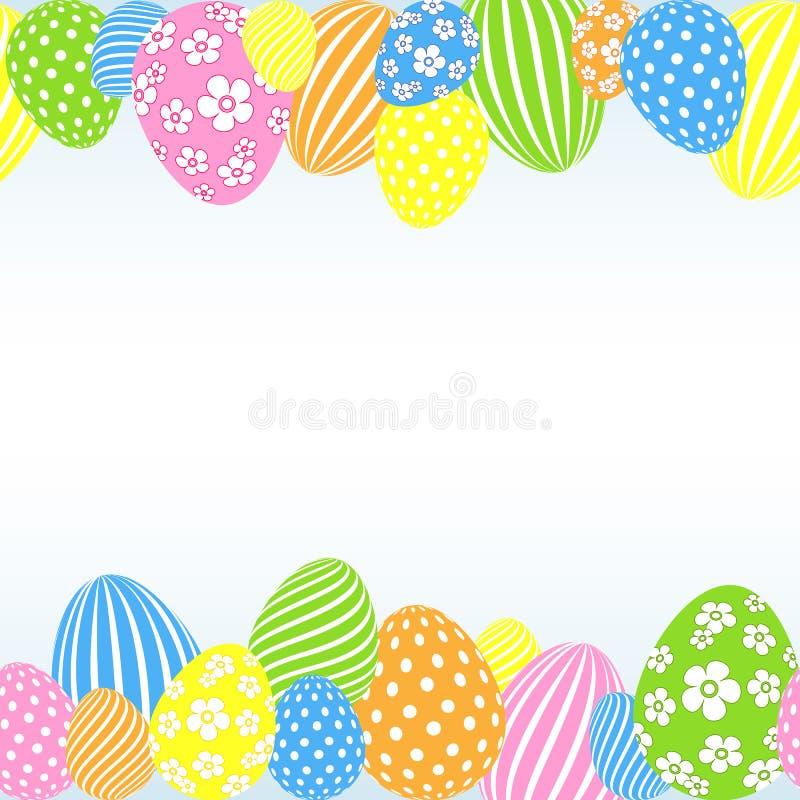 Modelo de los huevos de Pascua coloreados en una plantilla vacía festiva decorativa del fondo ligero para el diseño de cartel de  ilustración del vector