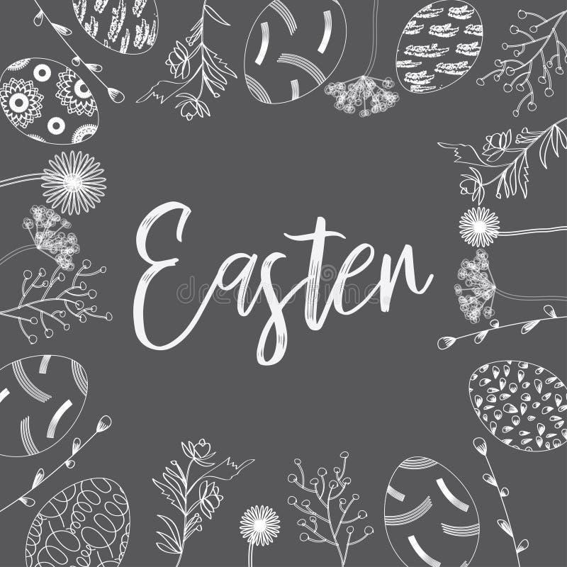 Modelo de los huevos y de las flores exhaustos de la tinta de la mano para la tarjeta de felicitación de Pascua, diseño del vinta stock de ilustración