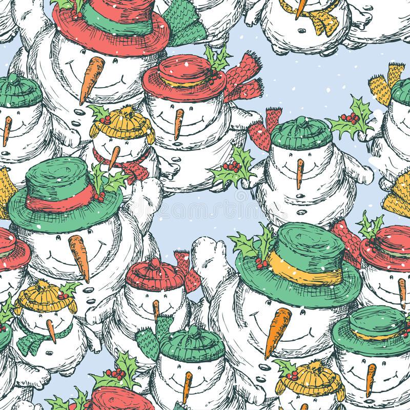 Modelo de los muñecos de nieve alegres de la Navidad libre illustration