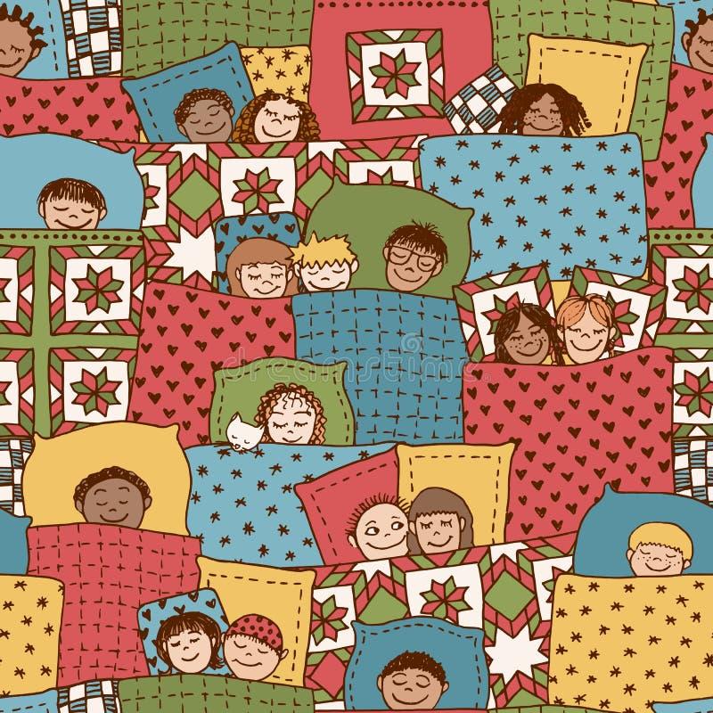 Modelo de los niños el dormir stock de ilustración